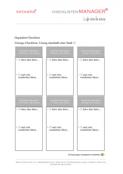 Umzugs-Checkliste, Umzug innerhalb der Stadt