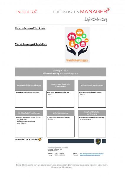 Versicherungs-Checkliste