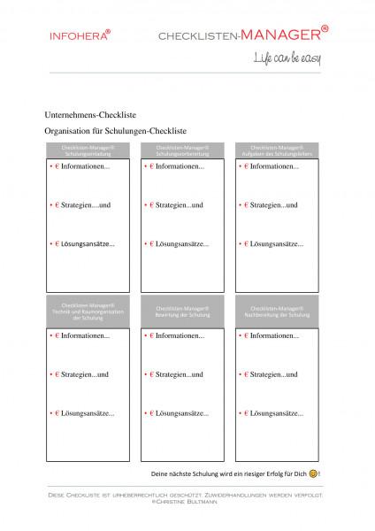 Organisation für Schulungen - Checkliste